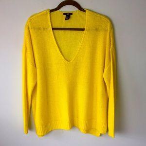 H&M yellow open knit sweater size M